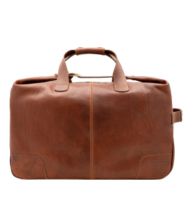 "Leather Travel Bag with Wheels ""Perseo"""