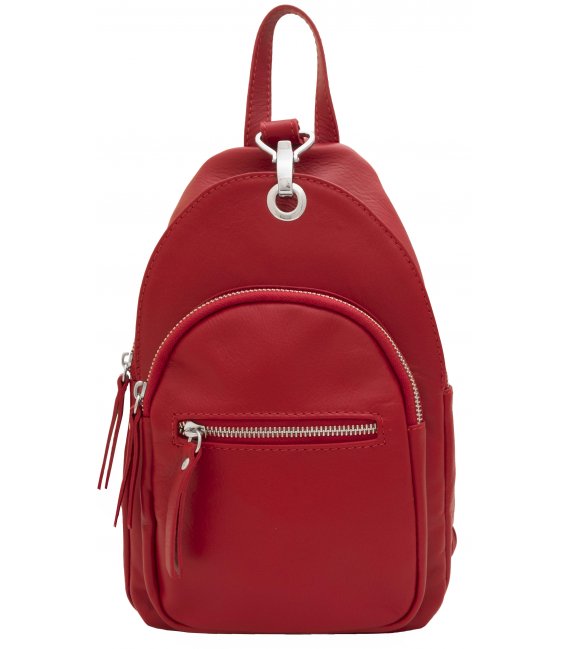 red leather rucksack