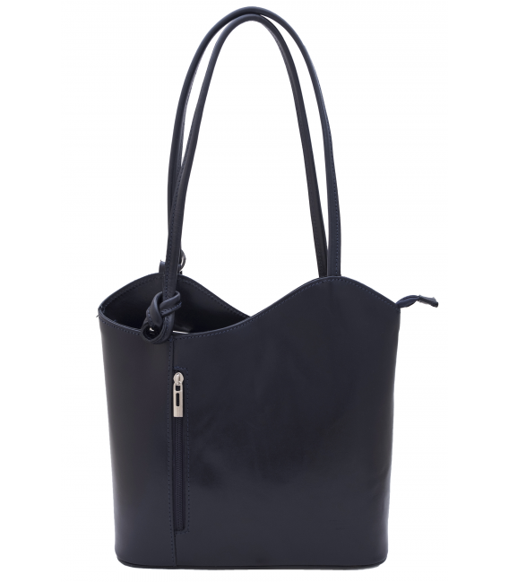 navy leather backpack womens