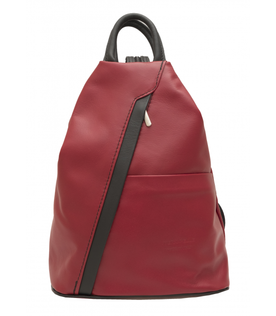 womens red leather backpack