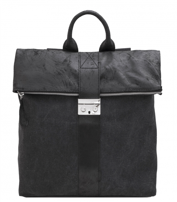 canvas and leather backpack  square leather backpack