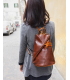 brown leather backpack womens | one shoulder leather backpack
