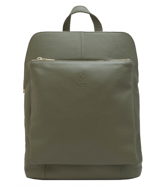 olive green leather backpack