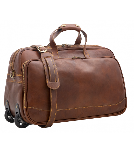 leather luggage with wheels