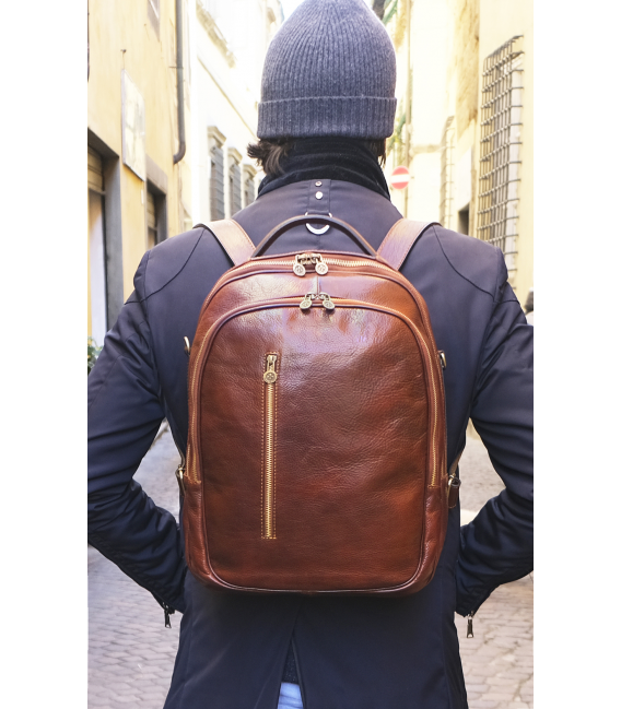 brown leather backpack mens | full grain leather backpack mens