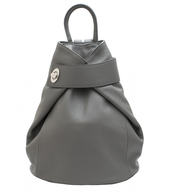 grey leather backpack womens