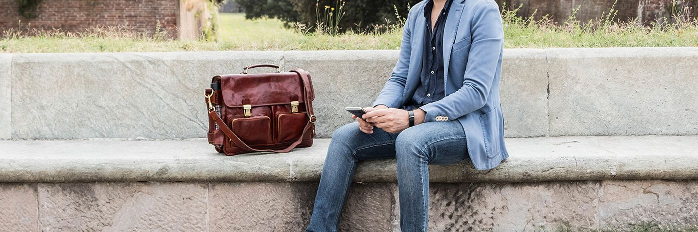Leather briefcase and leather laptop bag